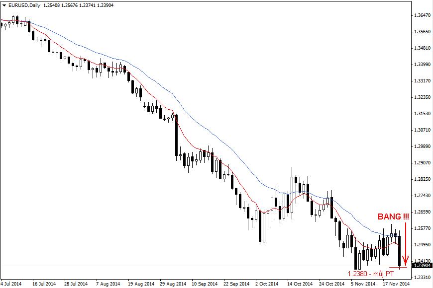 PIN bar na Daily grafu - graf z 21.11.2014